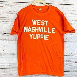 Vintage 70s Nashville Graphic T-Shirt Orange Sz L